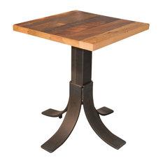 30x30 Reclaimed Barnwood Dining Table Metal Pedestal Base Restaurant Grade