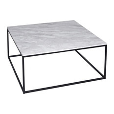 Gilmore Space - Kensal Marble Square Coffee Table, Black Base - Coffee Tables