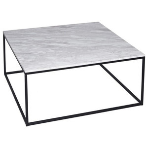 Kensal Marble Square Coffee Table, Black Base