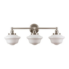 Lavagna 3 Light Schoolhouse Wall Sconce, Brushed Nickel, Milk Glass
