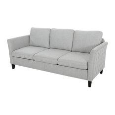 Betty Traditional Fabric Sofa Light Gray/Dark Brown