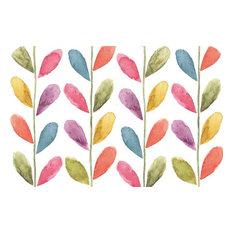 Vinyl Plastic Placemats Reversible Multi-Colored Leaves Set of 4