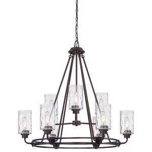 Gramercy Park 9-Light Chandelier, Old English Bronze, Blown Hammered Glass