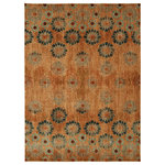 Mohawk - Studio In Bloom by Patina Vie Rug, Spice, 8'x10' - Influenced by dreamy scenes of wistfully floating through a flower field, the In Bloom Area Rug features a modern expression of a vintage floral motif.  Designed in collaboration with the style obsessed team of Patina Vie, the In Bloom Area Rug showcases washes of spicy saffron orange cooled by accents of turquoise blue.  Wonderfully woven with Mohawk Homes exclusive ecofriendly EverStrand yarn, this area rug is consciously created from up to 100% post-consumer content derived from recycled plastic bottles.  A premium polyester yarn, EverStrand offers a thick, sumptuous softness, inherent stain resistance and vivid color clarity.