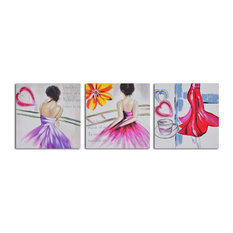 Love To Dance Hand Painted 3-Piece Canvas Set