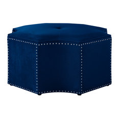 Nicole Miller Foxx Octagon Cocktail Ottoman, Chrome Nailhead Trim, Navy Velvet