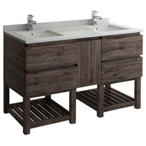 """Formosa 58"""" Floor Standing Open Bottom Double Sink Modern Bathroom Cabinet"""