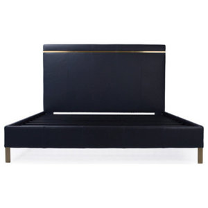 Munro Cal King Leather Bed, Leather: Azure, Brass
