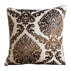 "Brown Burnout Velvet 18""x18"" Damask Throw Pillows Cover, Damask Brown"