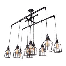 50 most popular chandeliers with a black shade for 2018 houzz lamps next brushed iron 1 tier linear chandelier with wire guard metal chandeliers aloadofball Image collections
