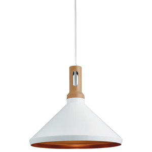 Single Cone Pendant With Gold Inner and Wood Effect Cap, White