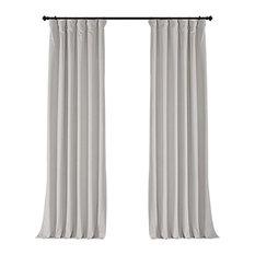 "Signature Off White Blackout Velvet Curtain Single Panel, 50""x84"""