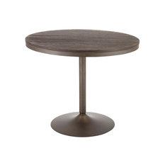 Dakota Industrial Dining Table, Antique Metal, Espresso Bamboo