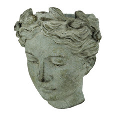 Distressed Cement Classic Greek Lady Head Indoor / Outdoor Wall Mounted Planter