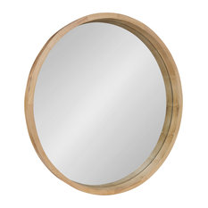 "Hutton Round Decorative Wood Frame Wall Mirror, 30"", Natural, 30"" Diameter"