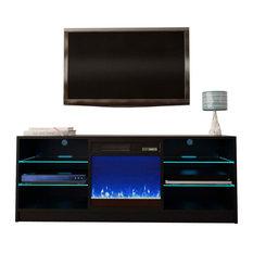 Manhattan Electric Fireplace Modern 58-inch TV Stand Black