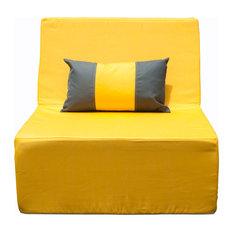 Lowboy Armless Lounge Chair, Yellow