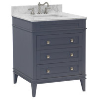 "Eleanor Bathroom Vanity, Charcoal Gray, 30"", Carrara Marble Top"