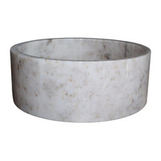 Cylindrical Natural Stone Vessel Sink, Mixed White Marble