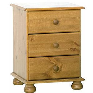 Traditional Bedside Cabinet, MDF With 3-Drawer for Additional Storage Space