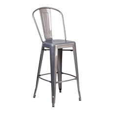 Offex OFX-447700-FF Clear Coated Indoor Counter Height Stool With Back 46.5-inch