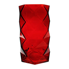 Geometric Ruby Faceted Gem Glass Vase, Origami, 1 Piece