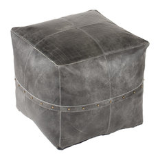 Langley Genunie Leather Pouf With Rivets, Gray