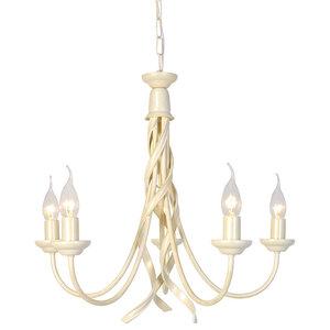 5-Light Chandelier, Ivory/Gold