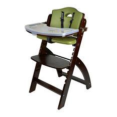 Beyond Junior Wooden Highchair, Mahogany, Olive Cushion