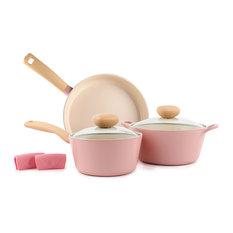 Neoflam Retro 5-Piece Ceramic Nonstick Cookware Set, Pink