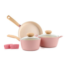Neoflam - Retro 5-Piece Ceramic Nonstick Cookware Set, Pink - Cookware Sets