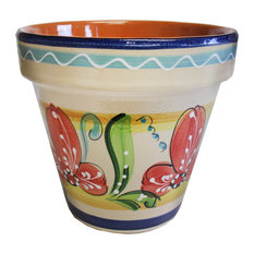 "Spanish Flower Pot 10.25"" D, 4"
