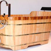 "Alfi AB1148 59"" Free Standing Oak Wood Bath Tub with Chrome Tub Filler"