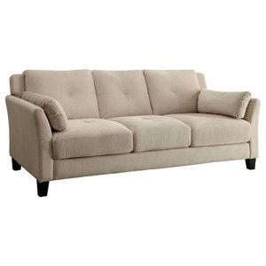 Furniture of America Trevon Tufted Fabric Sofa in Beige