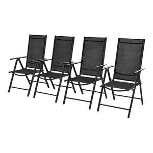 vidaXL Set of 4 Outdoor Chairs, Aluminium, Black, 54x73x107 cm