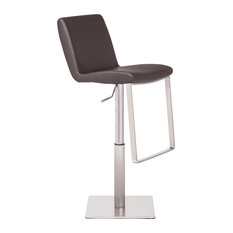 Lewis Leather Adjustable Stool In Brushed Stainless Steel Frame  Brown Leather