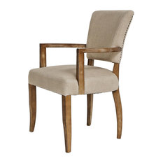 Kirby Linen Dining Armchair With Antique Brass Nailheads