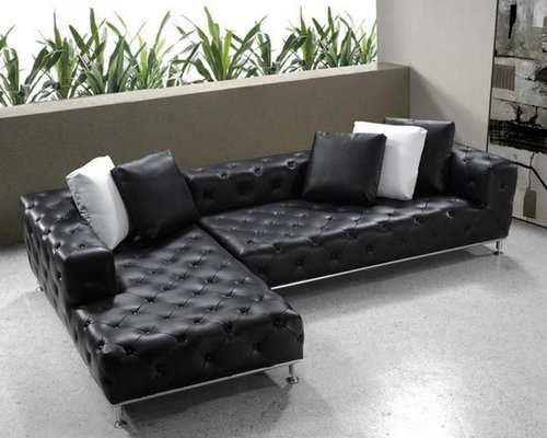 Elegant Tufted Full Leather Corner Couch Sectional Sofas
