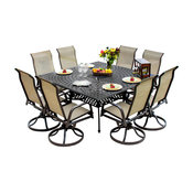 Madison Bay 8-Person Sling Patio Dining Set With Cast Aluminum Table