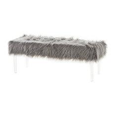 GDF Studio Klamma Glam Faux Fur Short And Straight Furry Ottoman Gray