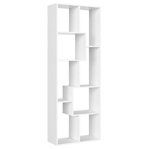 FreeStanding Bookcase, Solid Wood With 8-Compartment, Modern Design, White