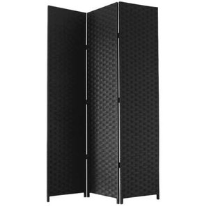 Free Standing Folding Room Divider in Bonded Paper and Wood, Contemporary Style