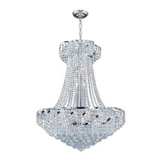 Empire 15 Bulbs 1 Tier Chandelier With Clear Crystal In Polished Chrome