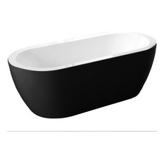 Venice Modern Freestanding Soaking Acrylic Bathtub, Black, 67""