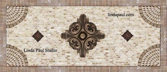 kitchen backsplash murals, mosaic medallions and accent tiles