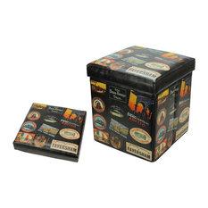 """Decorative Travel Stickers Wooden Storage, Brown, 15.5"""""""