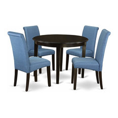 Dining Room Set Cappuccino Finished Frame And Blue Linen Fabric 5 Piece
