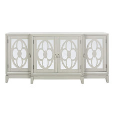 Elegant Sideboard, Engineered Wood Construction With Mirrored Doors, Grey