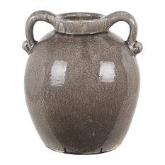 Contemporary Ceramic Vase With Gray Finish 38100