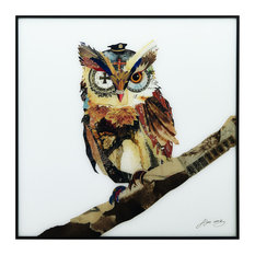 """""""The Wisest Owl"""" Reverse Printed Art Framed With Black Anodized Aluminum"""